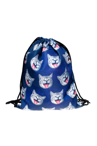 Cats Blue Drawstring Bag