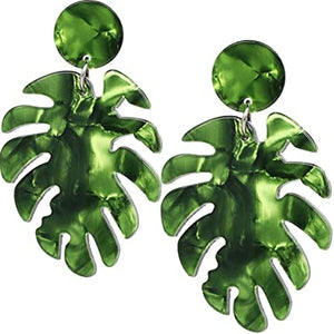 Green Palm Leaves Earrings