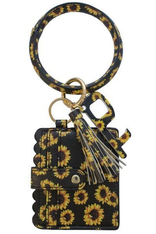 Sunflower Wrist Keychain Card Holder and No-Touch Key