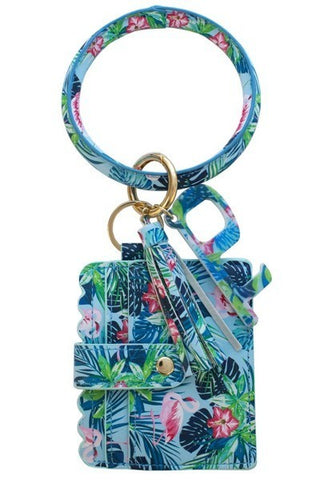 Flamingo Tropical Wrist Keychain Card Holder and No-Touch Key