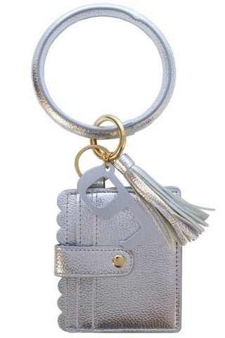 Silver Keychain Card Holder and No-Touch Key