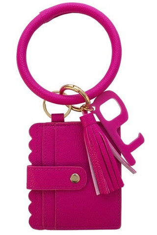 Fuchsia Keychain Card Holder and No-Touch Key