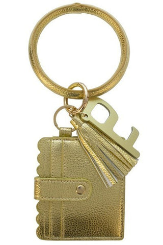 Golden Keychain Card Holder and No-Touch Key