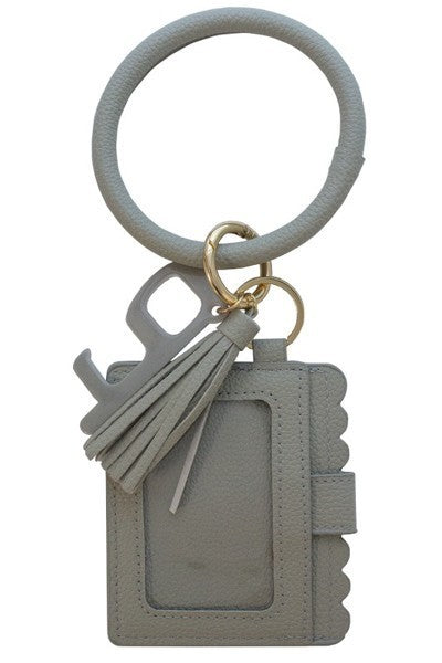 Gray Keychain Card Holder and No-Touch Key