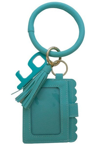 Teal Keychain Card Holder and No-Touch Key