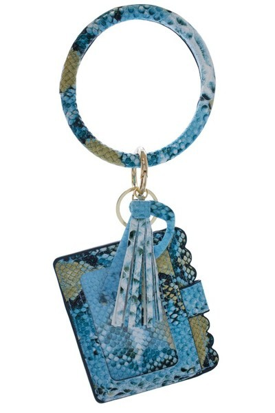 Blue Snake Skin Keychain Card Holder and No-Touch Key