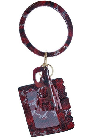 Burgundy Snake Skin Keychain Card Holder and No-Touch Key