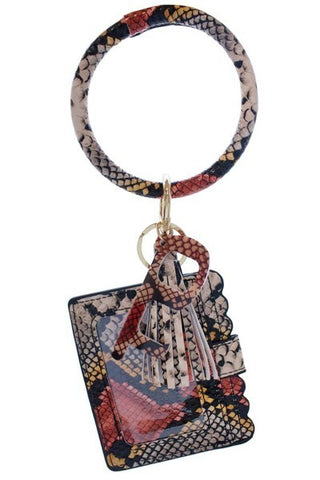 Reddish Snake Skin Keychain Card Holder and No-Touch Key