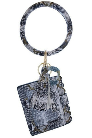White Snake Skin Keychain Card Holder and No-Touch Key