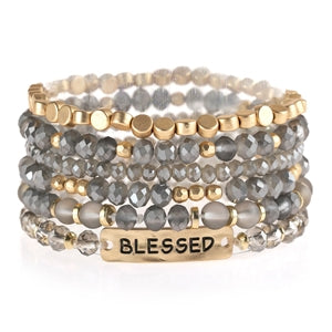 Blessed Stretch Bracelet - Gray (Set of 6)