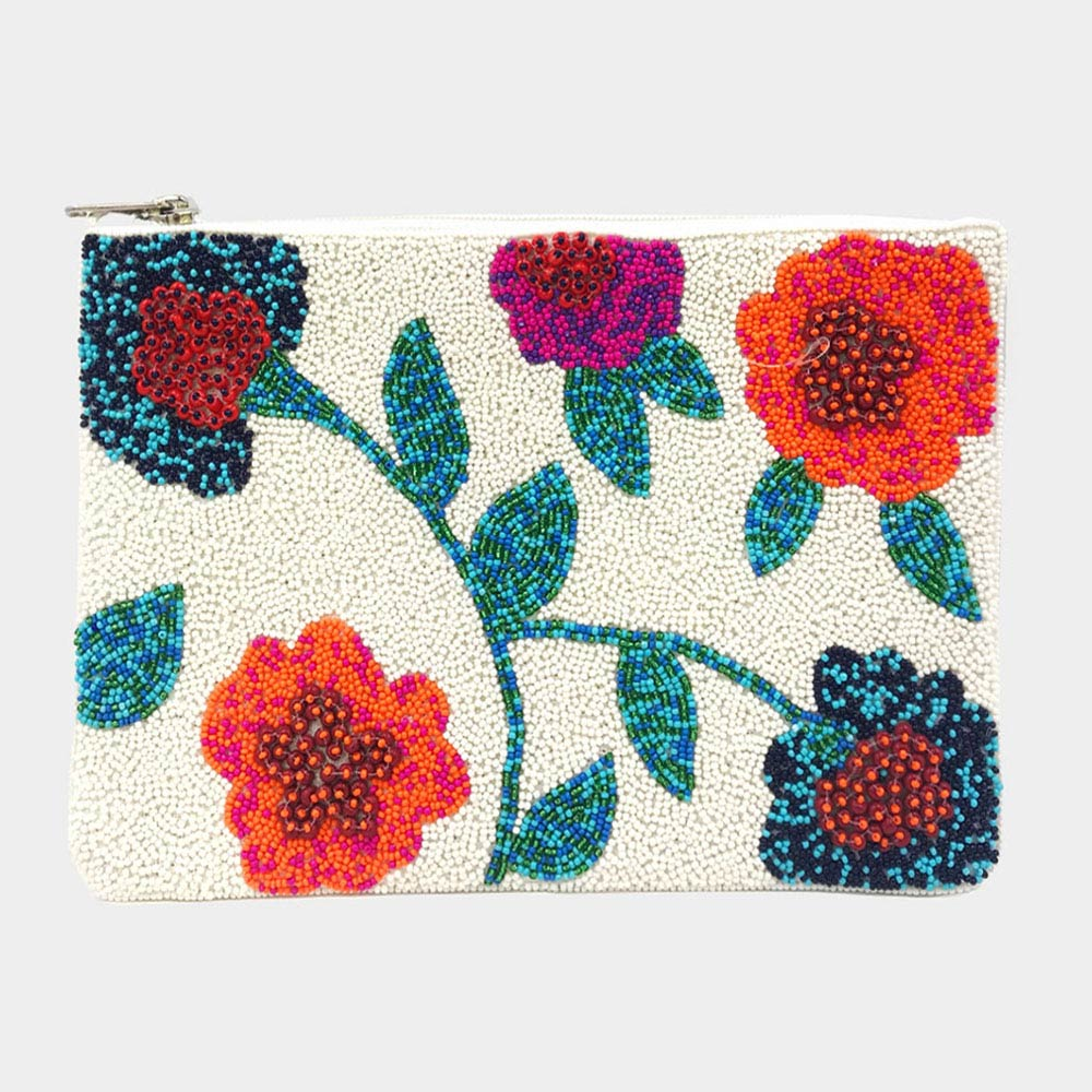 Beaded Flowers Clutch