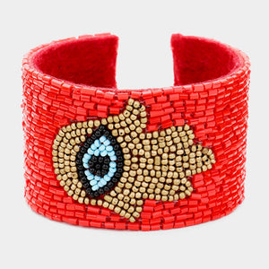 Hamsa Beaded Red Cuff Bracelet