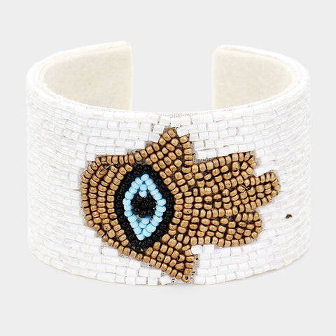 Hamsa Beaded White Cuff Bracelet