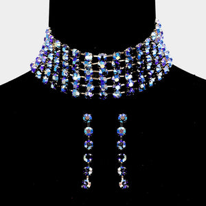 Blue Crystals Choker Necklace & Earrings Set