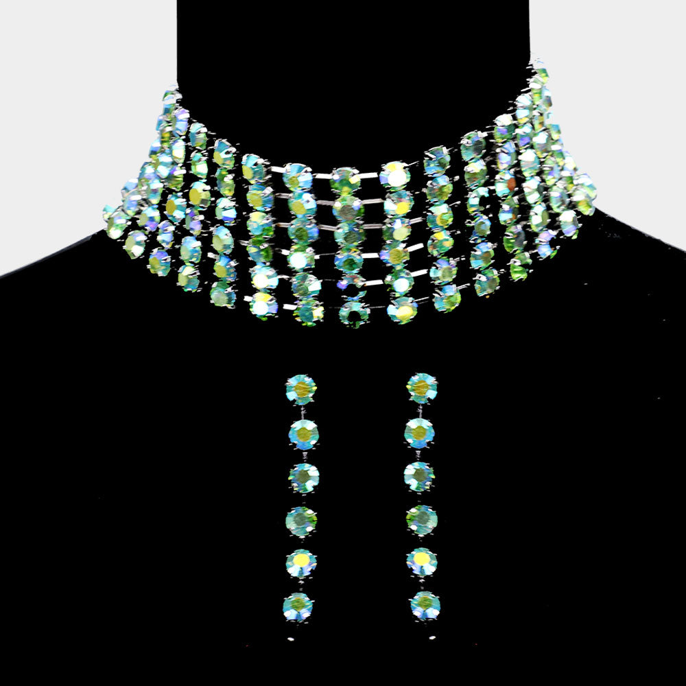 Green Crystals Choker Necklace & Earrings Set