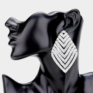 Rhombus Drop Silver Statement Earrings