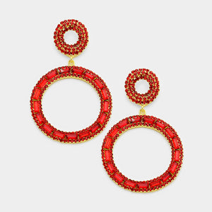 Round Red Drop Earrings