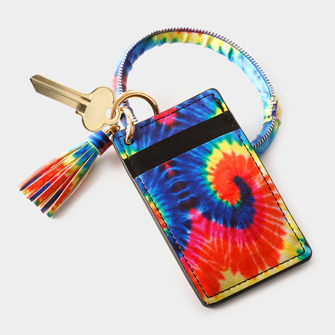 Bright Tie Dye Wrist Keychain Card Holder