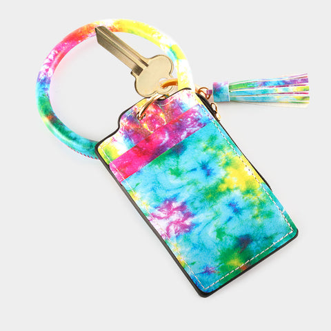 Pastel Tie Dye Wrist Keychain Card Holder