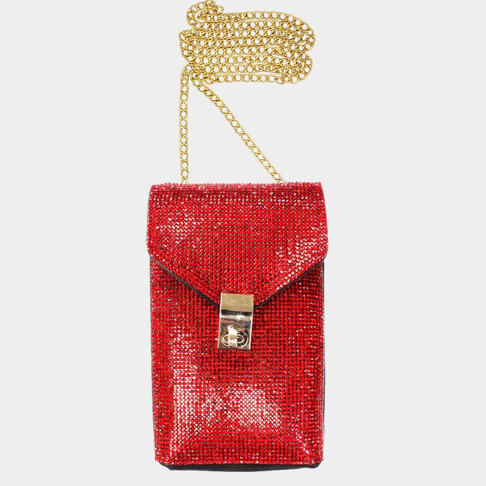 Red Rhinestones Crossbody Bag
