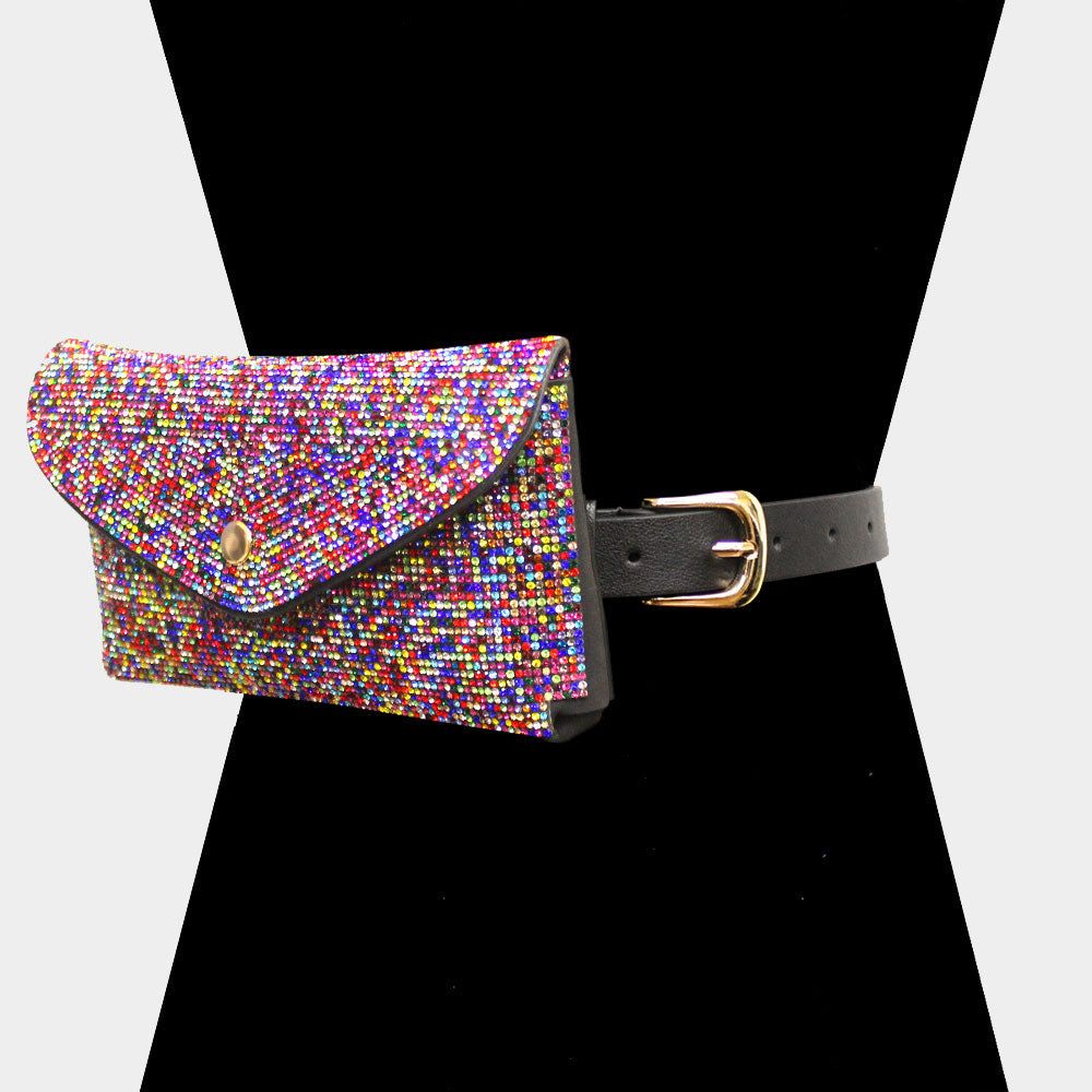 Colorful Rhinestones Belt Bag