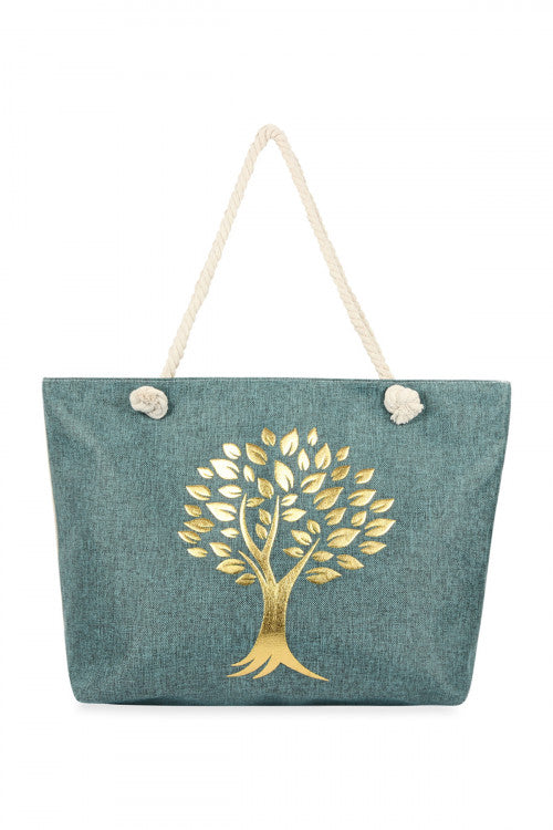 Denim Blue Golden Tree of Life Tote Bag