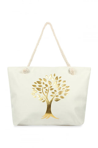 Natural Golden Tree of Life Tote Bag
