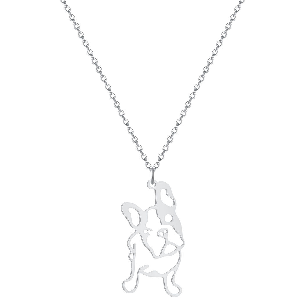 French Bulldog Tiny Pendant Silver Necklace