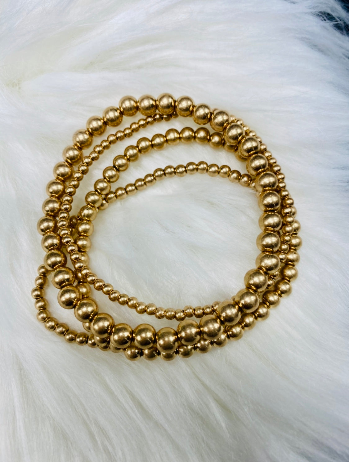 Round Beads Golden Bracelet Set (4 Layers)