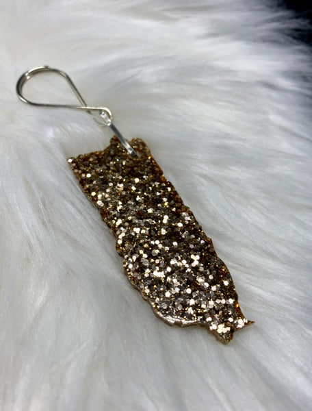 Puerto Rico Map Glitter Keychains