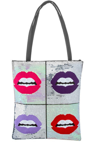 Pink Silver Lips Tote