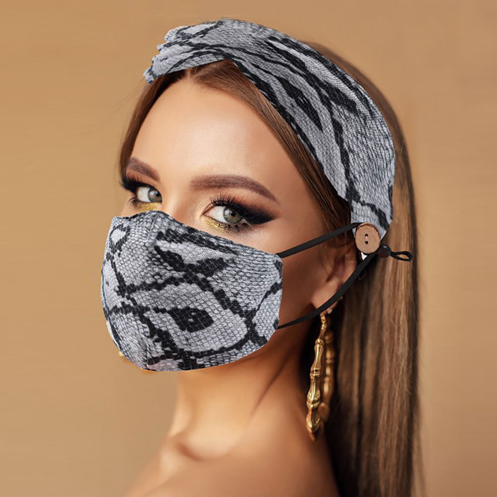 Brown Snake Print Fashion Headband & Cover (Filter Pocket + 1 Filter Included)
