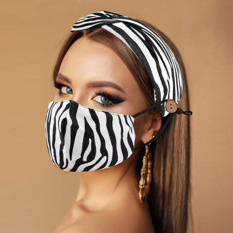 Black Zebra Headband & Cover (Filter Pocket + 1 Filter Included)