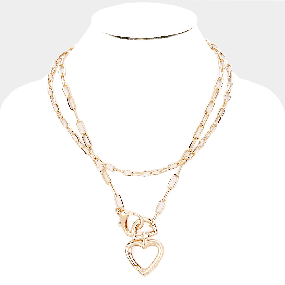 Heart Chain Mask Holder Golden Necklace