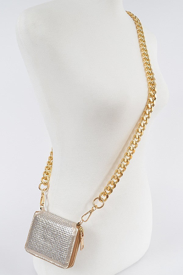 Gold Rhinestones Crossbody Bag