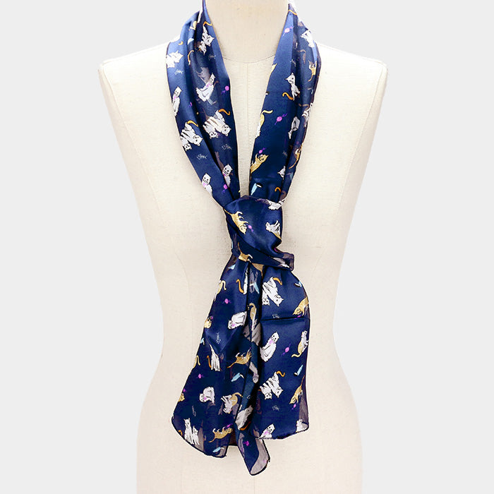 Cats Blue Scarf