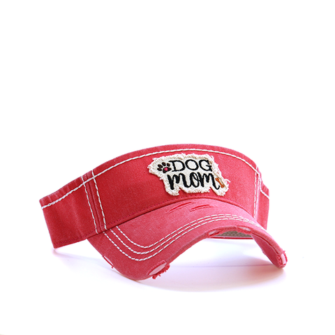 Coral Dog Mom Visor