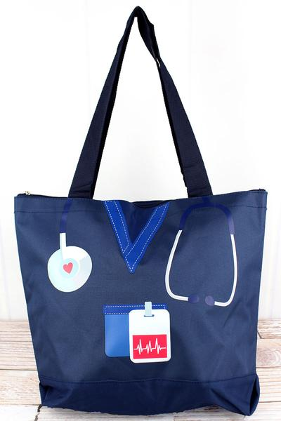 Scrub Life Navy Blue Tote Bag