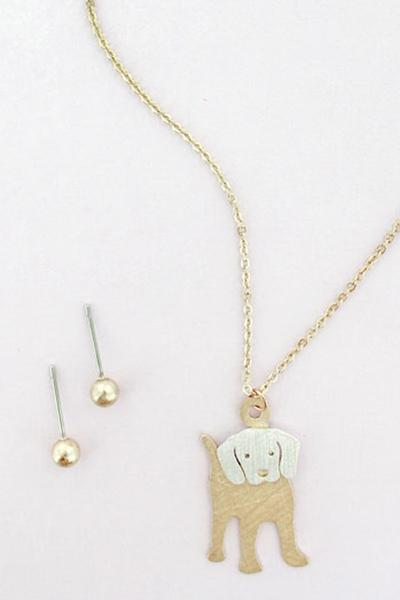 Doggie Goldtone Necklace & Earrings Set