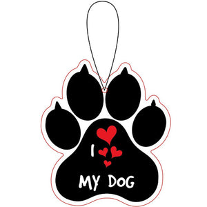 I Love My Dog Paw Print Ocean Breeze Freshener