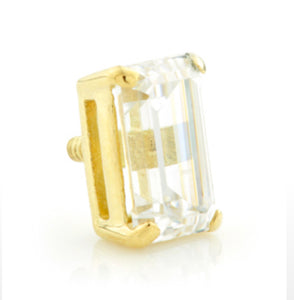 Clear zirconia, baguette cut stone in 18carat gold.