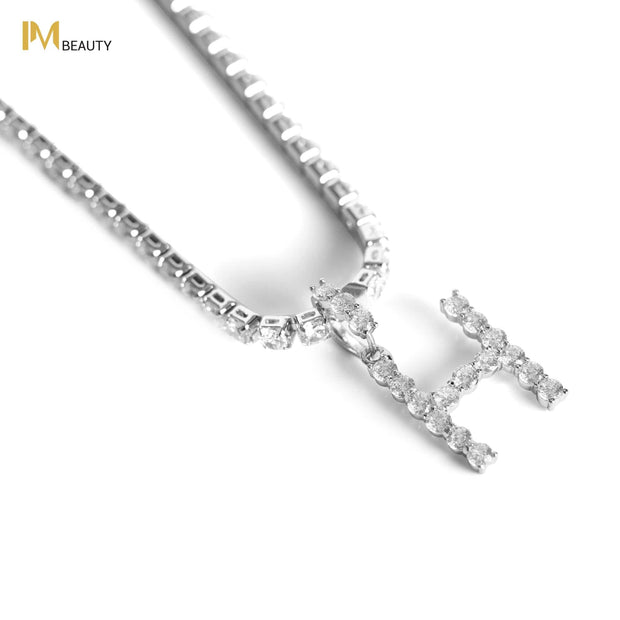 Rhinestones Initial Necklace - H - IM Beauty