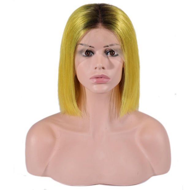 IM Beauty Indian Bob Lace Front Wig Yellow - IM Beauty