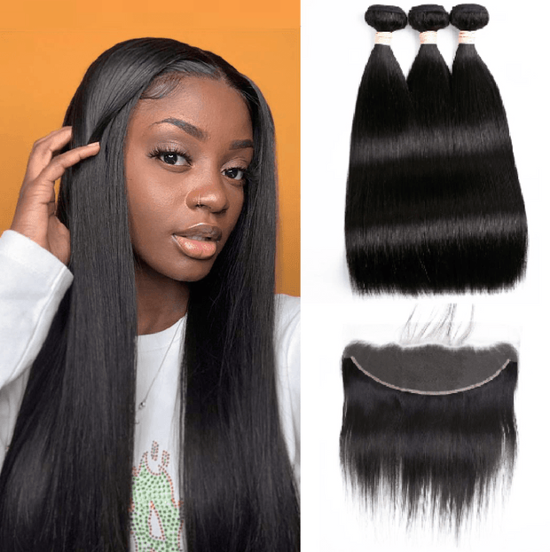 8A Straight 3 Bundles with Frontal - IM Beauty