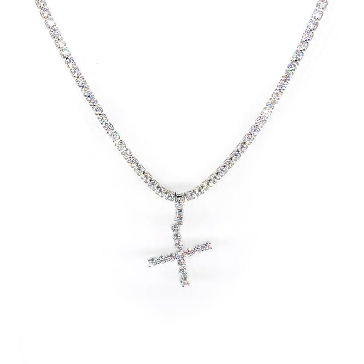Rhinestones Initial Necklace - X - IM Beauty