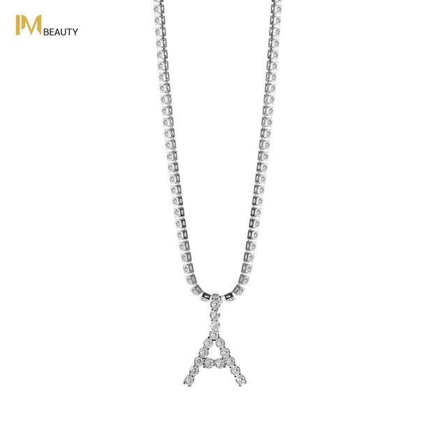 Rhinestones Initial Necklace - A - IM Beauty