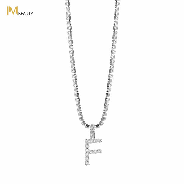 Rhinestones Initial Necklace - F - IM Beauty