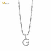 Rhinestones Initial Necklace - G - IM Beauty