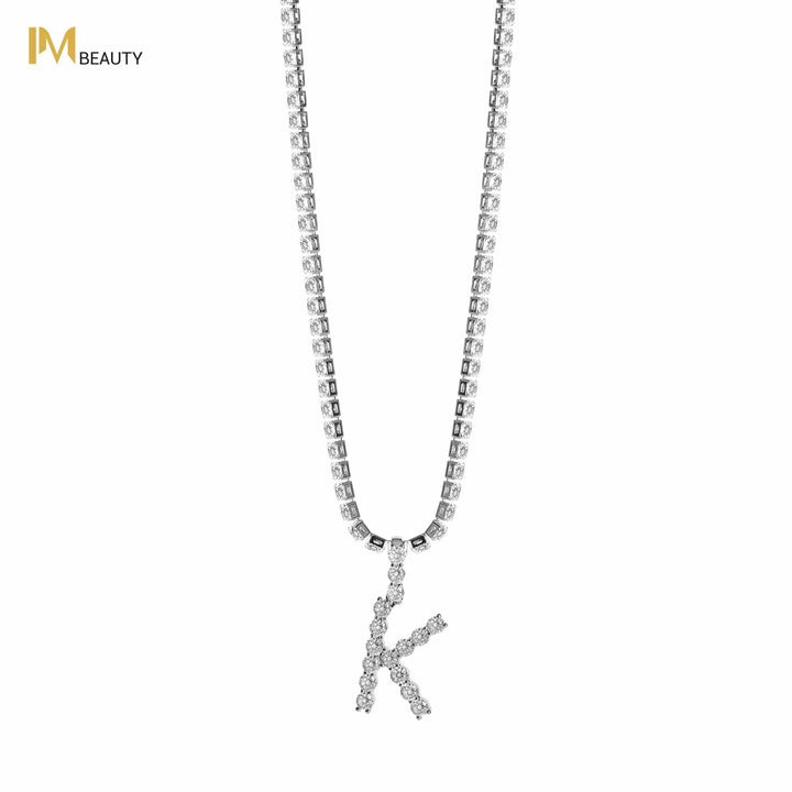 Rhinestones Initial Necklace - K - IM Beauty