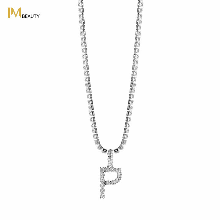 Rhinestones Initial Necklace - P - IM Beauty